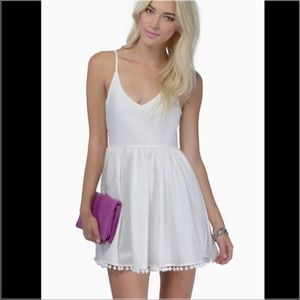 Tobi white pom pom skater dress